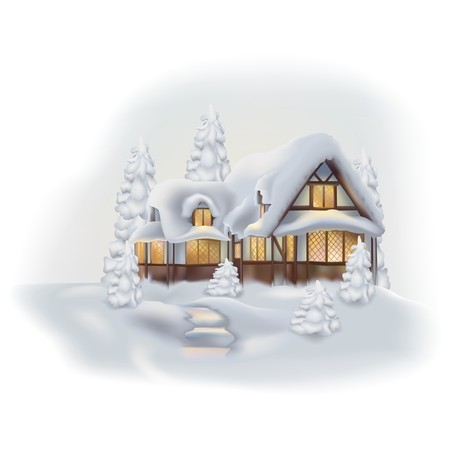 Cottage in the Snow - Colored Winter Illustration, Vector Illustration