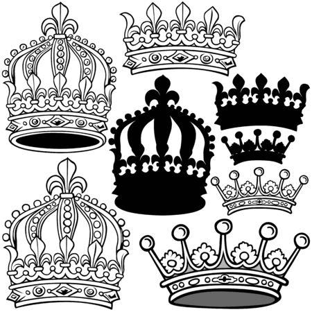 Königskrone - schwarze heraldische Illustrationen, Vektor Standard-Bild - 87181610