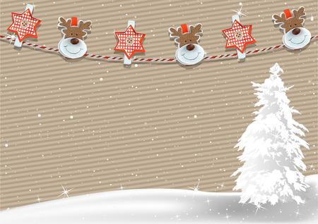 크리스마스 배경 스트라이프 종이와 Clothespin 장식 밧줄 - 크리스마스 일러스트 레이 션, 벡터에