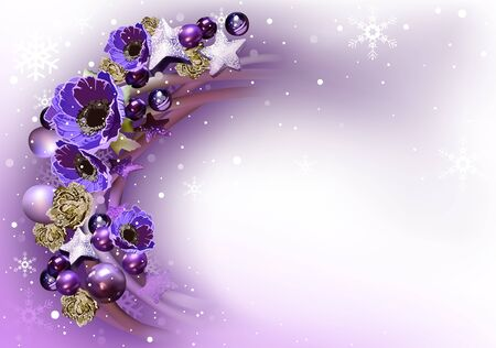 christmas backgrounds: Purple Abstract Christmas Wreath Background - Xmas Greeting Illustration, Vector Illustration