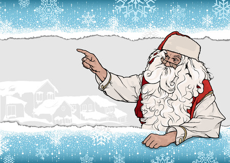 christmas backgrounds: Santa Claus Pointing His Finger Over Snowflake Background - Christmas Illustration, Vector