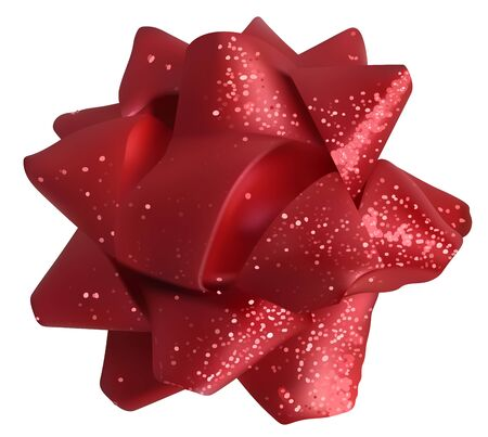 Red Glitter Bow - Luxury Material with Twinkle Effect, Vector Illustration