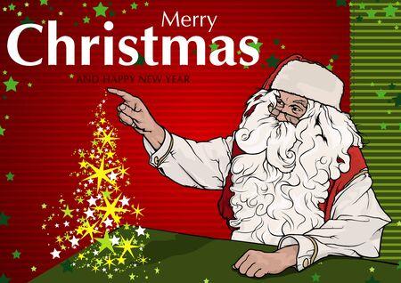Santa claus and magic christmas tree greeting card colored santa claus and magic christmas tree greeting card colored illustration vector stock vector m4hsunfo