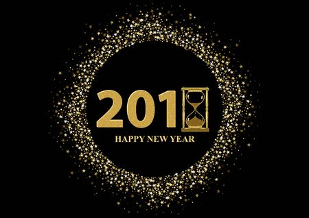 Happy New Year Greeting with Golden Stars on Black Background - Glittering Illustration, Vector Illustration