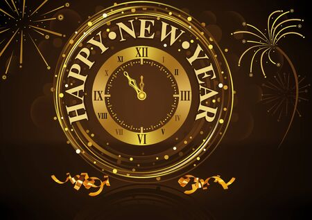 Happy New Year greeting with golden wall clock and fireworks over dark brown bokeh. Illustration
