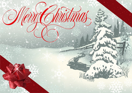 Merry Christmas Greeting with Winter Landscape and Red Glittering Ribbons with Bow - Snowy Illustration, Vector Illustration