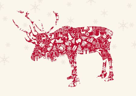 Christmas Reindeer with Ornaments and Snowflakes - Background Illustration, Vector Illustration
