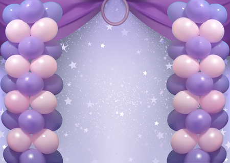 Birthday Background with Purple and Pink Party Balloons - Holiday Illustration, Vector