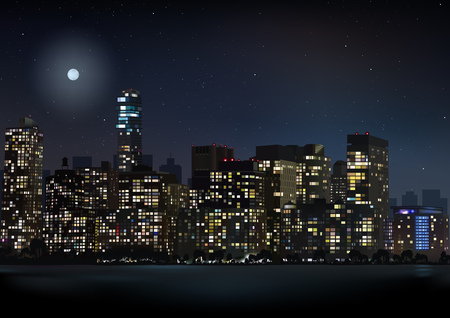 Night City Skyline Detailed Background Illustration Vector