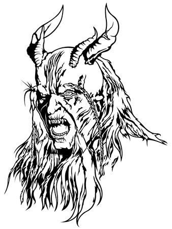 Satan Head - Black and White Devil Illustration, Vector