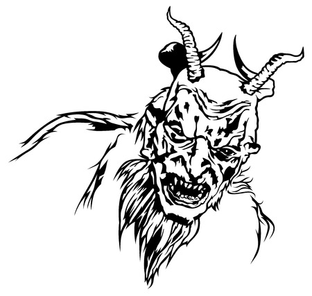 Satan Head with Four Horns and Scary Face - Black and White Devil Illustration, Vector