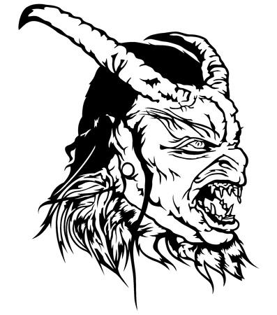 Cabeza de diablo con cara de miedo ilustración vectorial