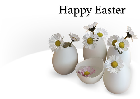 Happy Easter Greeting Card with Eggs Decorated with Flowers - Illustration, Vector