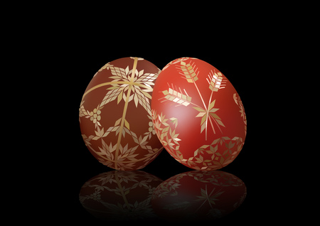 Easter Background with Two Easter Eggs Decorated with Strawy Pattern on Black with Reflection - Detailed Illustration, Vector
