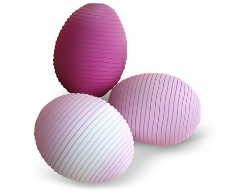 Three Easter Eggs with Striped Pattern - Decorative Element for Your Illustrations, Vector