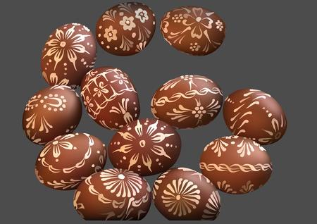 Brown Easter Egg Collection with Ornamental Pattern - Colored Illustration, Vector Ilustração