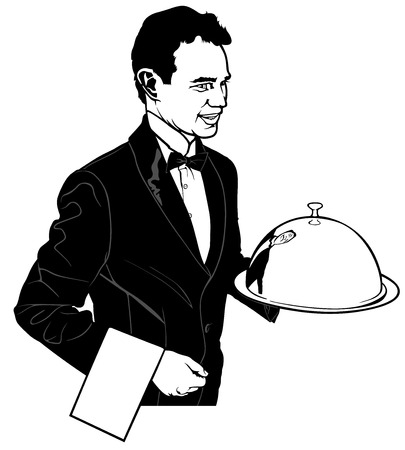 The Waiter Carrying a Main Dish vector illustration