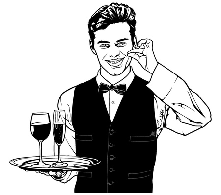 Waiter Carrying Drinks and Showing Delicious - Black and White Sketch Illustration, Vector