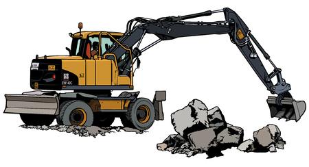 Excavator Machine at work illustration. Stock Illustratie