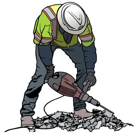 Trabajador constructor con martillo neumático Equipo de perforación Rompiendo el sitio de construcción de carreteras - Ilustración coloreada, Vector