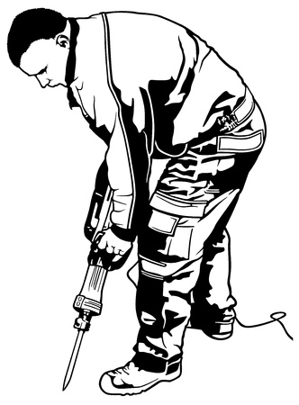 Construction Worker with Pneumatic Hammer - Black and White Illustration, Vector