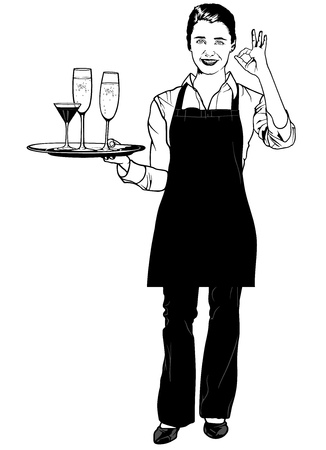 Waitress Holding a Tray with Champagne and Gesturing Delicious - Black and White Illustration, Vector Vectores