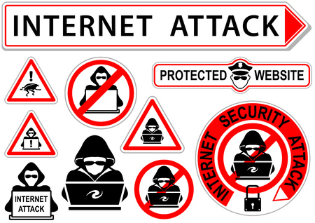 Internet Attack Signs or Icons - Set of 10 illustrations, Vector