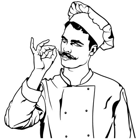 Chef Gesture Delicious - Black and White Sketch Illustration, Vector Illustration