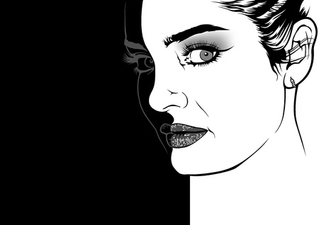 Woman Face with Fashion Make-up - Black and White Drawing Illustration on Divided Background, Vector