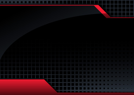 Black Abstract Tech Background with Red 3D Lines and Glossy Surface - Modern Graphic Illustration with Halftone Square Pattern, Vector