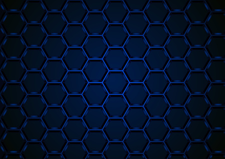 Blue Hexagonal 3D Mesh Structure on Dark Background - Abstract Illustration with 3D Effect, Vector Ilustração