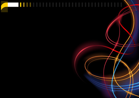Abstract Colorful Glowing Lines on Black Background - Modern Graphic Illustration for Website or Visiting Card, Vector Imagens - 100929302