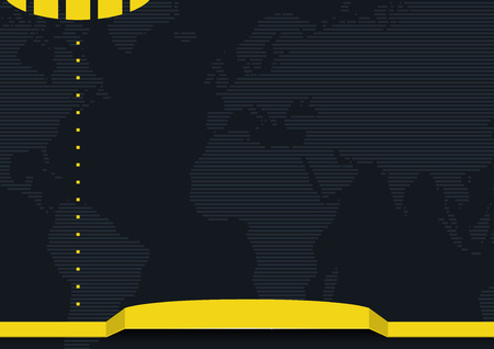 Graphic Background with Striped World Map and Yellow Banner - Abstract Illustration. Ilustração
