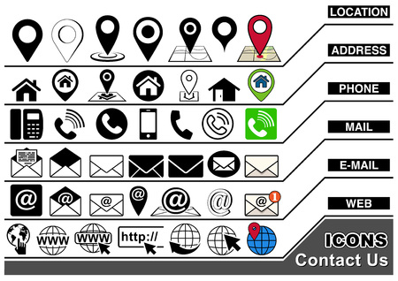 Contact Us Icons Collection for Visiting Card, Business Card, Website and More - Set of Illustrations, Vector