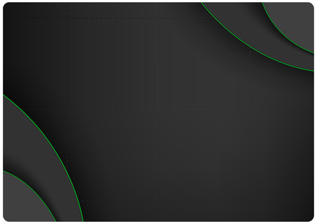 Dark Background with Layers and 3D Green Edges - Modern Abstract Illustration for Your Graphic Design, Visiting Card, Website and Leaflet, Vector