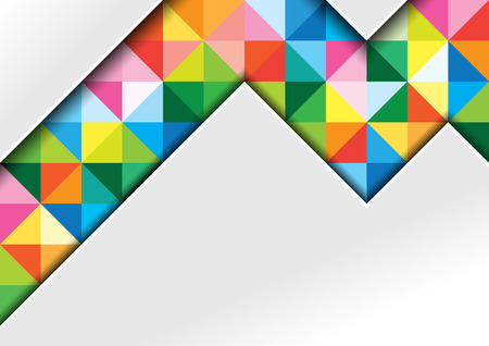 White Background with Colorful Squares and Shadows in Geometric Abstract Illustration - Template for Visit Card, Brochure, Propagation and More, Vector 向量圖像