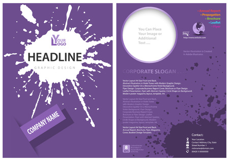 Template of a Purple Leaflet with a Splatter - Abstract Modern Graphic Illustration for Your Propagation Projects, Vector