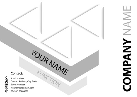 Abstract Business Card with Geometric Design on White Background - Elegant Graphics in Gray or Silver Tones, Vector
