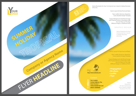 Flyer Template Summer Holiday with Diagonal Rounded Squares with Blurred Tropical Palm Tree and Blue Sea Background - Illustration, Vector