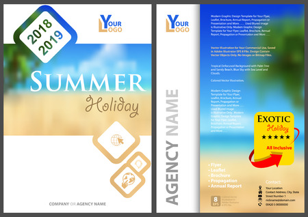 Flyer Template Summer Holiday with Diagonal Rounded Squares with Blurred Tropical Background with Palms and Sandy Beach - Illustration, Vector Ilustração