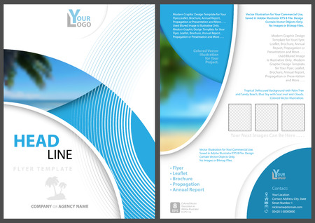 Elegant Flyer Template with Geometric Shapes and Tropical Background with Palm and Beach and Blue Sea - Modern Illustration, Vector