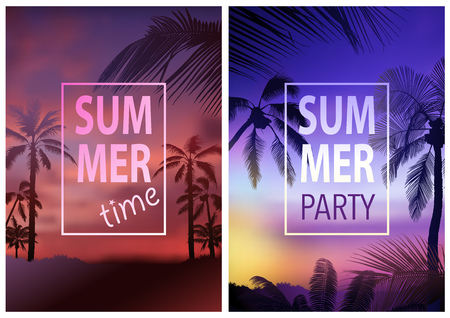 Flyer Template with Tropical Background and Colorful Sunshine and Palm Tree Silhouettes - Abstract Illustration, Vector Ilustração