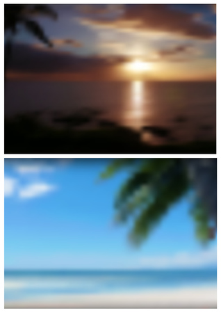 Two Blurred Tropical Backgrounds for Your Graphics Design - Palm Tree with Beach and Sea Illustration, Vector