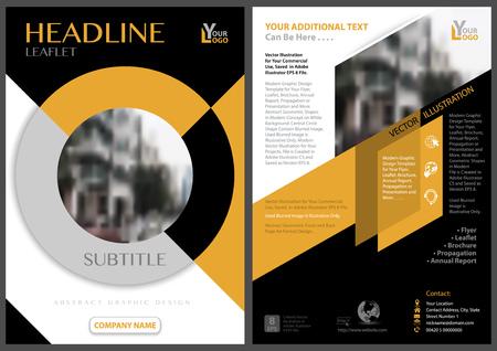 イラストレーションブラー画像を中心に円形状を持つ黄色黒のチラシテンプレート - 抽象的な幾何学的イラスト、ベクトル