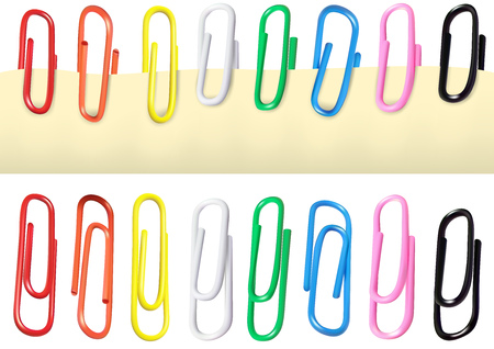 Colorful Paperclips Isolated on a White Background and Paperclips Attached on a Paper - Detailed Illustration, Vector Illustration