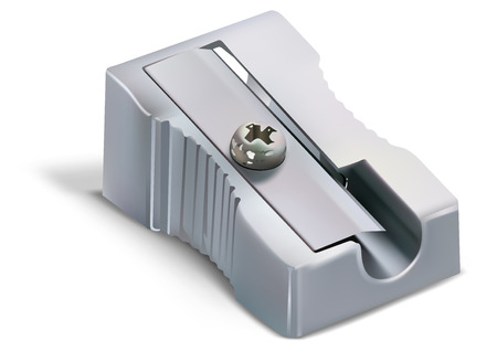Pencil Sharpener Isolated on White Background - Detailed Illustration, Vector