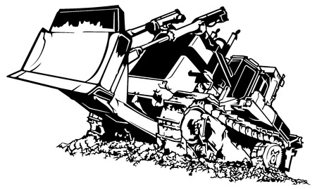 Black and White Bulldozer - Drawing Illustration Isolated on White Background, Vector