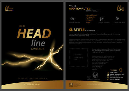 Black Flyer Template with Golden Strip and Fissure - Abstract Concept for Your Projects, Vector Illustration Illustration