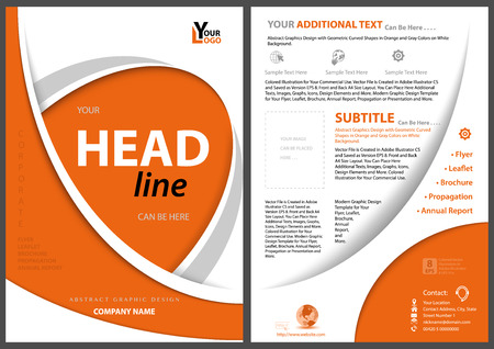 Modern Flyer Concept with Orange Curved Shapes on White Background - Elegant Illustration for Your Projects, Vector Ilustração