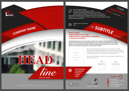 Red and Black Abstract Flyer Template in Modern Concept - Elegant Geometric Style with Decorative Blurred Image - Vector Illustration
